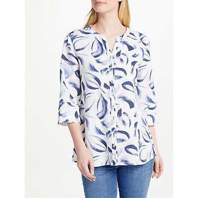 Gerry Weber Three-Quarter Printed Linen Shirt, White/Blue