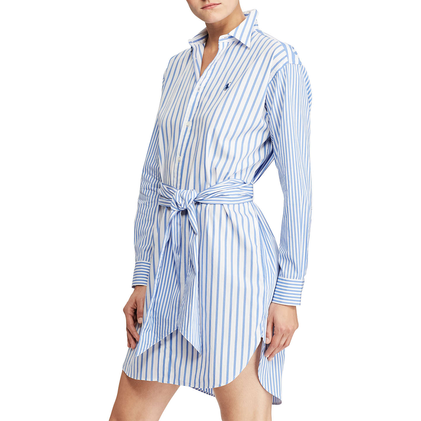 BuyPolo Ralph Lauren Striped Cotton Shirt Dress, Blue/White, 8 Online at  johnlewis ...