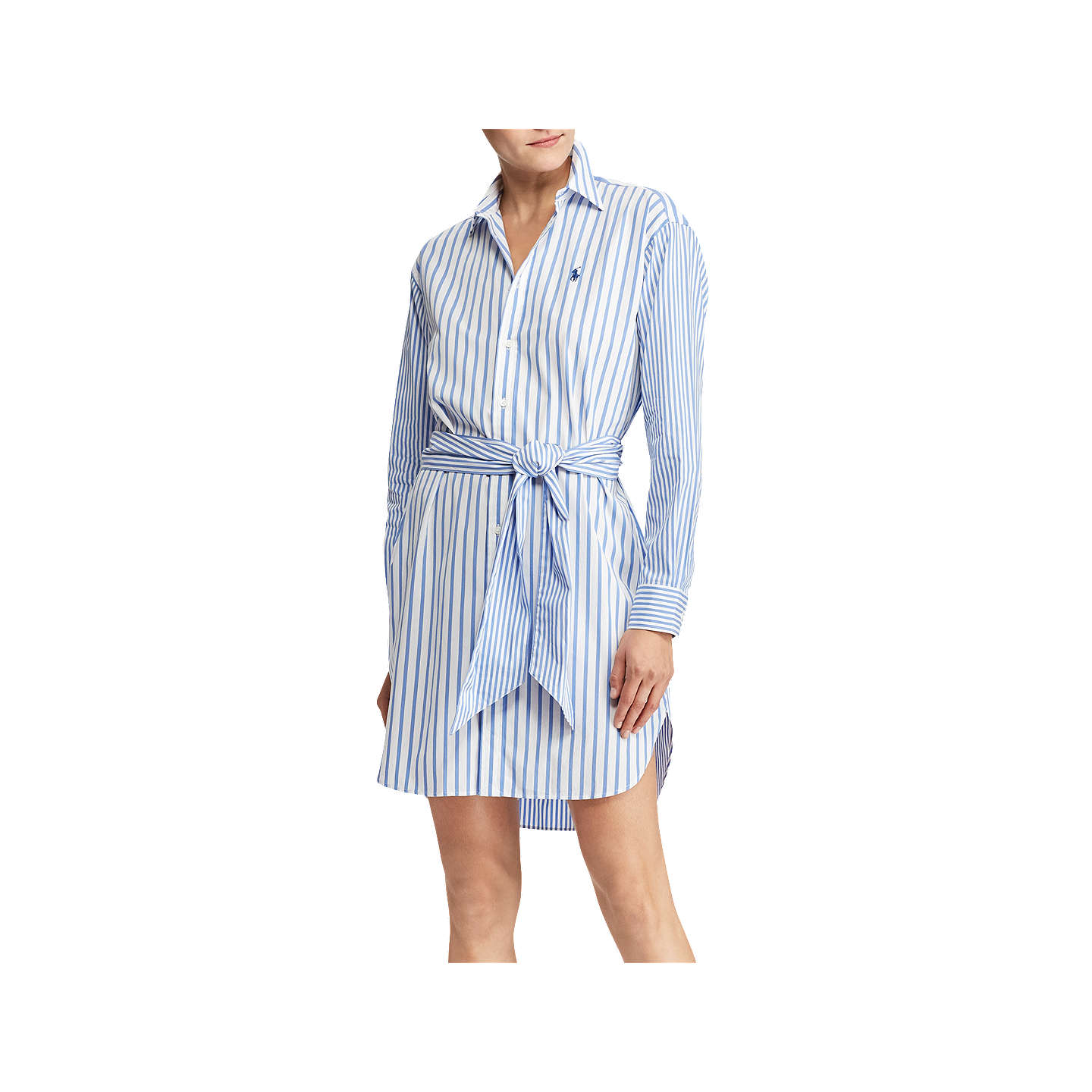 ... BuyPolo Ralph Lauren Striped Cotton Shirt Dress, Blue/White, 8 Online  at johnlewis ...