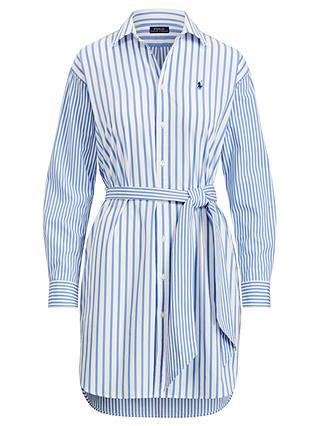 Polo Ralph Lauren Striped Cotton Shirt Dress, Blue/White at John ...