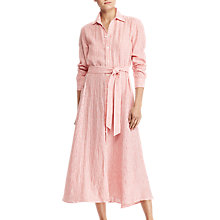 Buy Polo Ralph Lauren Ashtin Linen Shirt Dress, Tomato/White Online at johnlewis.com