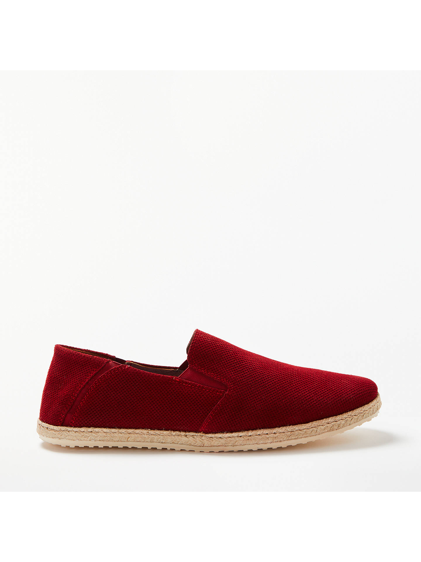 BuyJohn Lewis Suede Espadrilles, Red, 7 Online at johnlewis.com