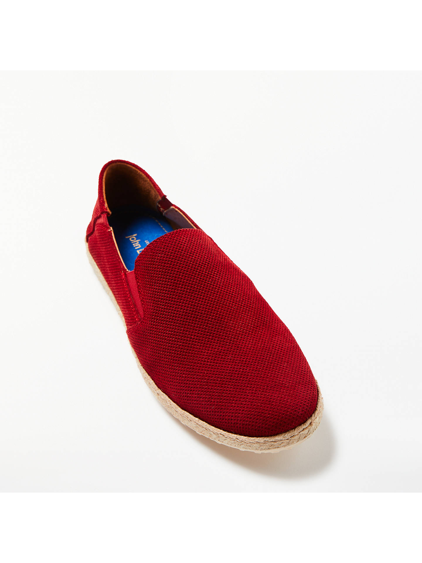 Buy John Lewis Suede Espadrilles, Red, 7 Online at johnlewis.com