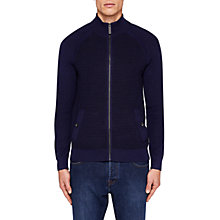 Buy Ted Baker Zip Ribbed Jumper, Navy Online at johnlewis.com