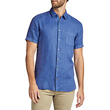 Buy BOSS Cattitude Linen Shirt, Bright Blue Online at johnlewis.com