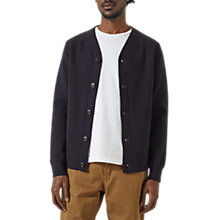 Buy Jigsaw Baseball Knitted Jacket, Liquorice Online at johnlewis.com