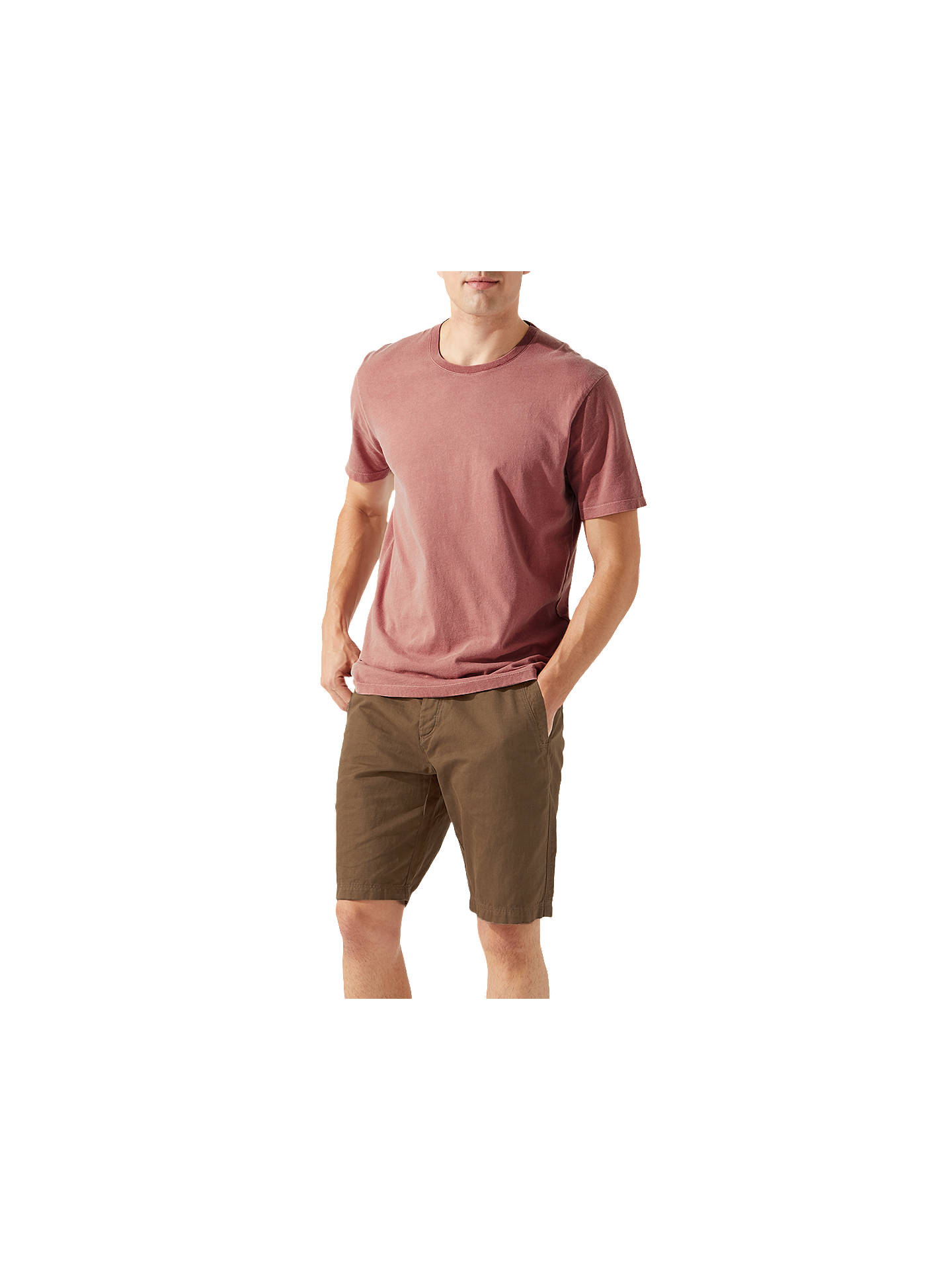 BuyJigsaw Garment Dye Crew Neck T-Shirt, Dusty Pink, S Online at johnlewis.com