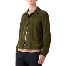 Buy Jigsaw Suede Jacket, Khaki Online at johnlewis.com