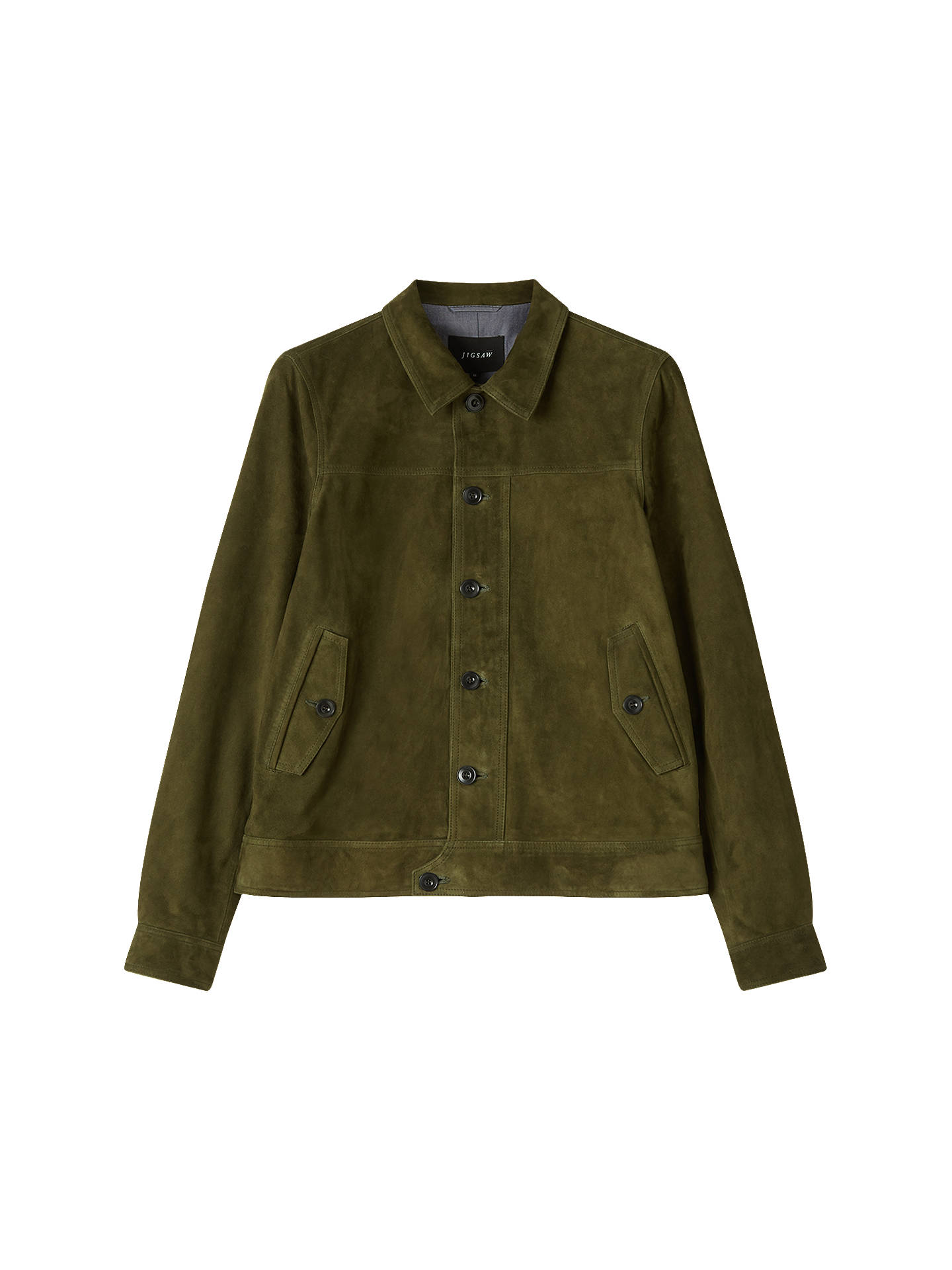 9891905a5 Jigsaw Suede Jacket, Khaki at John Lewis & Partners