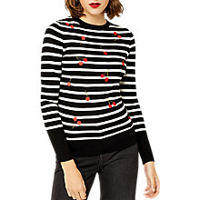 Buy Warehouse Cherry Stripe Jumper, Black Online at johnlewis.com