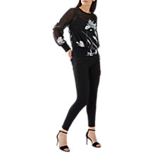 Buy Coast Bianca Print Shirred Top, Black/Multi Online at johnlewis.com