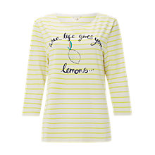Buy White Stuff Lemonade Stripe Jersey T-Shirt, Zesty Yellow Stripe Online at johnlewis.com