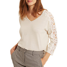 Buy Gerard Darel Lace Sleeve Jumper, Off White Online at johnlewis.com