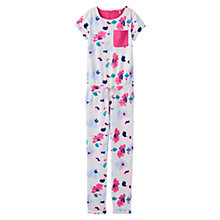 Buy Little Joule Girls' Rosalie Print Jumpsuit, White/Pink Online at johnlewis.com