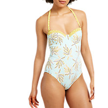 Buy White Stuff Leaf Print Swimsuit, Sea Breeze Blue Online at johnlewis.com