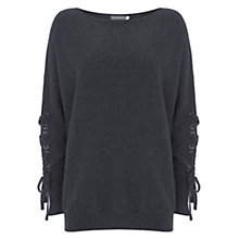 Buy Mint Velvet Lace Up Sleeve Knit Jumper, Dark Grey Online at johnlewis.com