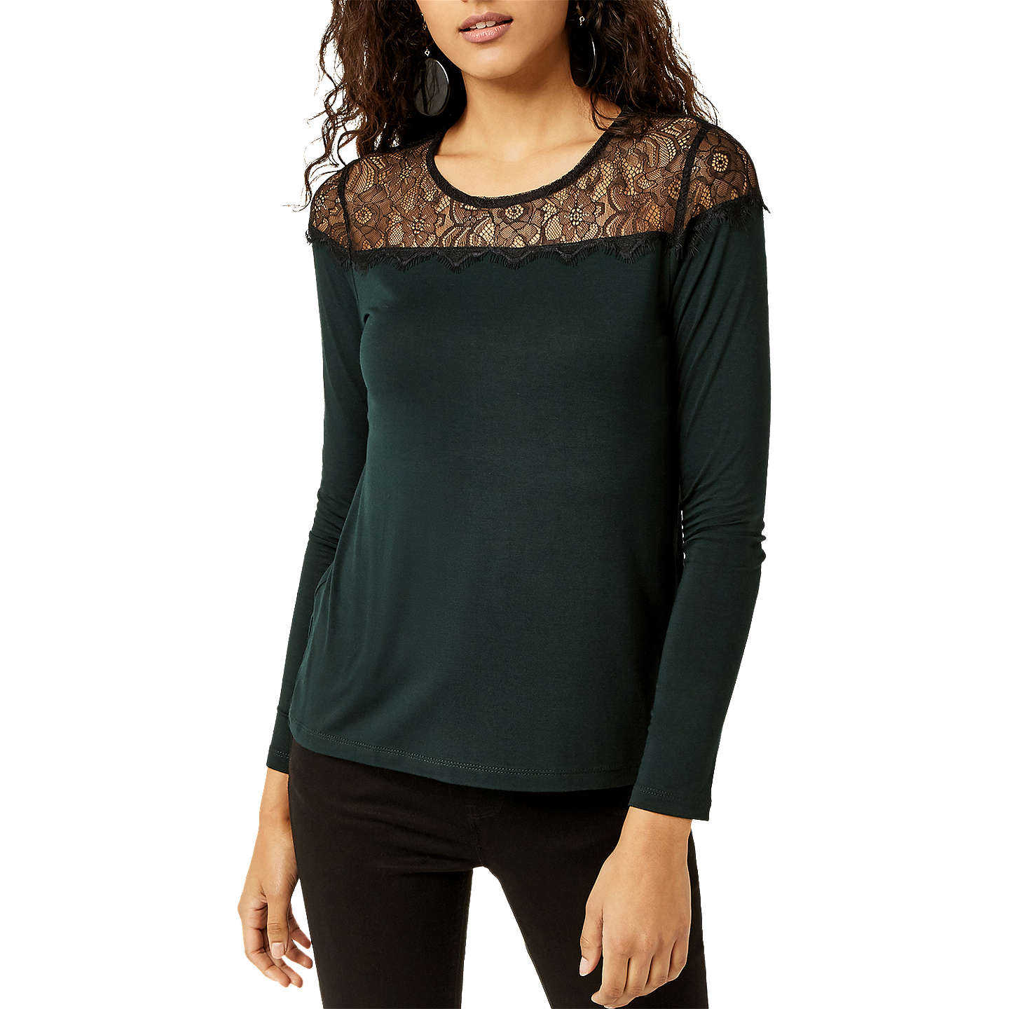 BuyWarehouse Lace Panel Jersey Top, Dark Green, 6 Online at johnlewis.com