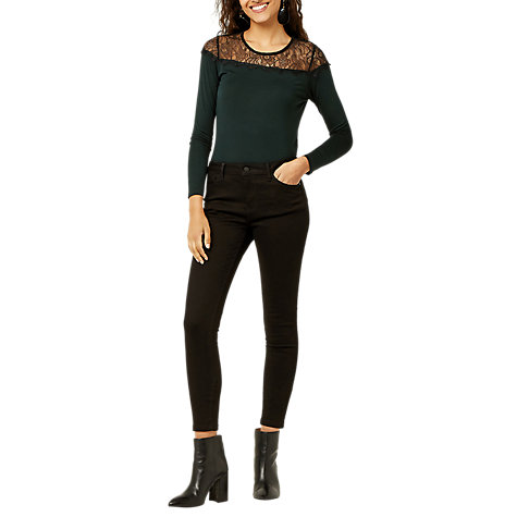 Buy Warehouse Lace Panel Jersey Top, Dark Green Online at johnlewis.com