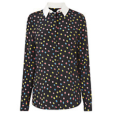 Buy L.K. Bennett Esmia Silk Spot Shirt, Black/Multi Online at johnlewis.com