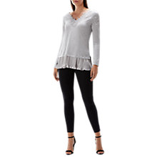 Buy Coast Asher Lace Knit Top, Grey Online at johnlewis.com