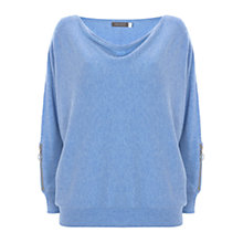 Buy Mint Velvet Zip Sleeve Batwing Jumper, Bluebell Online at johnlewis.com