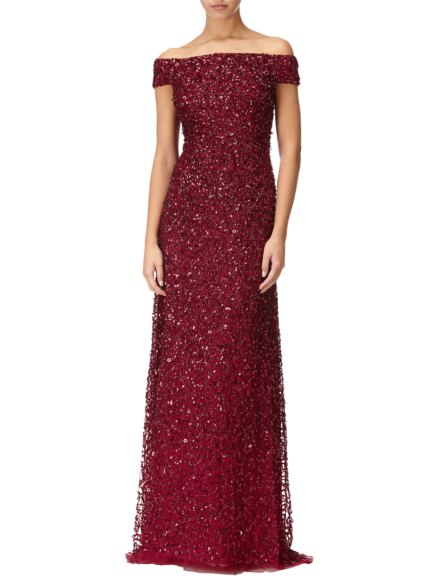 Adrianna Papell Off Shoulder Beaded Gown Cranberry At John Lewis
