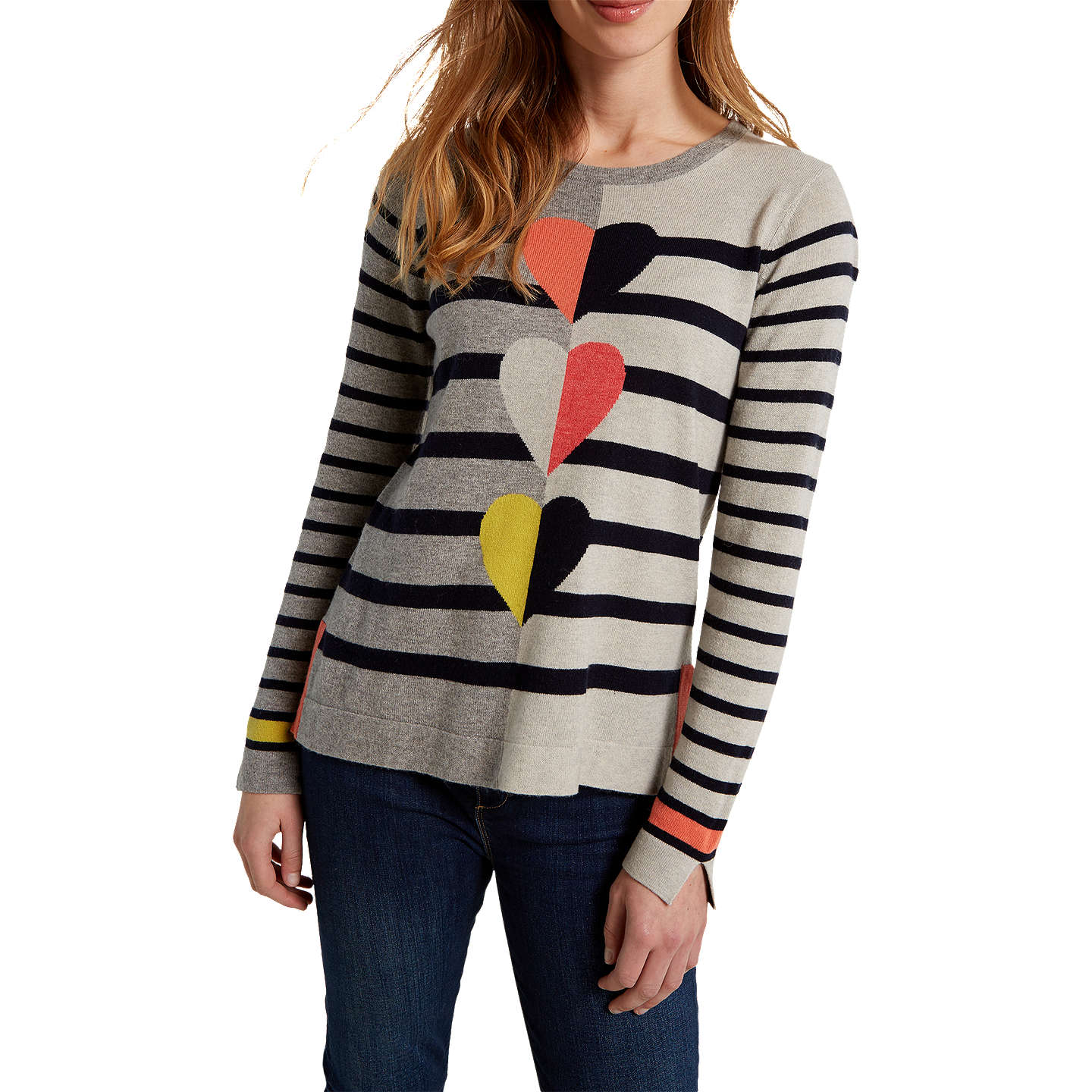 BuyWhite Stuff Trio Heart Stripe Jumper, Mutli/Grey, 6 Online at johnlewis.com