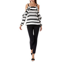 Buy Coast Rachel Cold Shoulder Stripe Top, White/Black Online at johnlewis.com