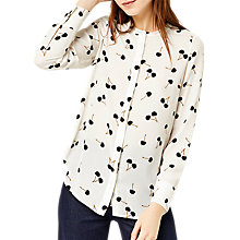 Buy Warehouse Cherry Print Blouse, Neutral Online at johnlewis.com