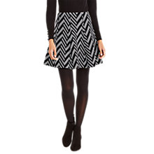 Buy Oasis Stripe Jacquard Skirt, Black/White Online at johnlewis.com