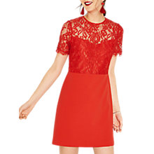 Buy Oasis Lace Bodice Dress, Mid Orange Online at johnlewis.com