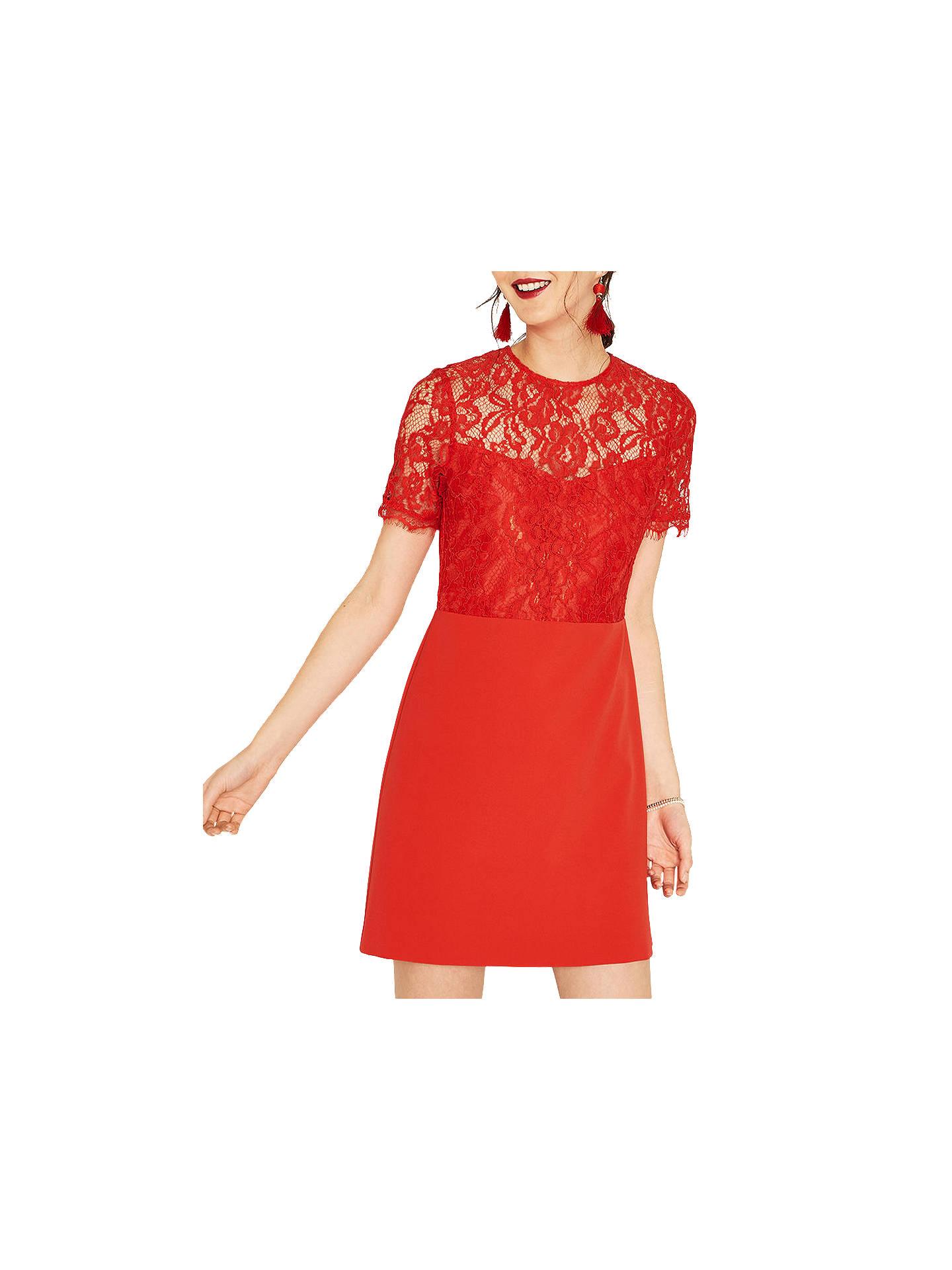 0a70d8222076 Buy Oasis Lace Bodice Dress, Mid Orange, 6 Online at johnlewis.com ...