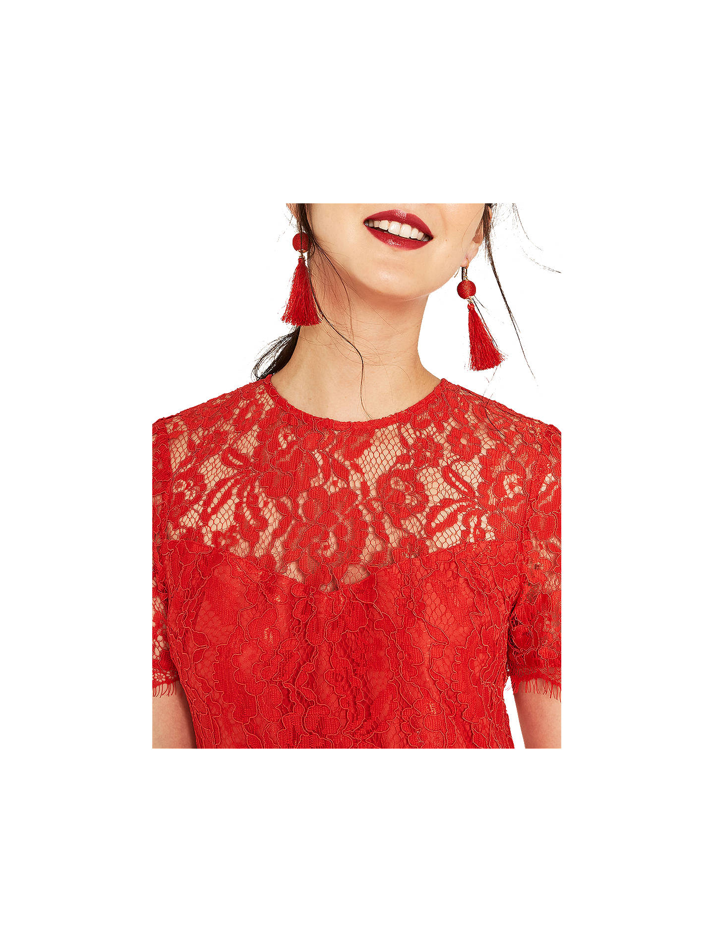 d3da9660a04d ... Buy Oasis Lace Bodice Dress, Mid Orange, 6 Online at johnlewis.com