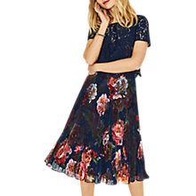 Buy Oasis Romance Lace Midi Dress, Blue/Multi Online at johnlewis.com