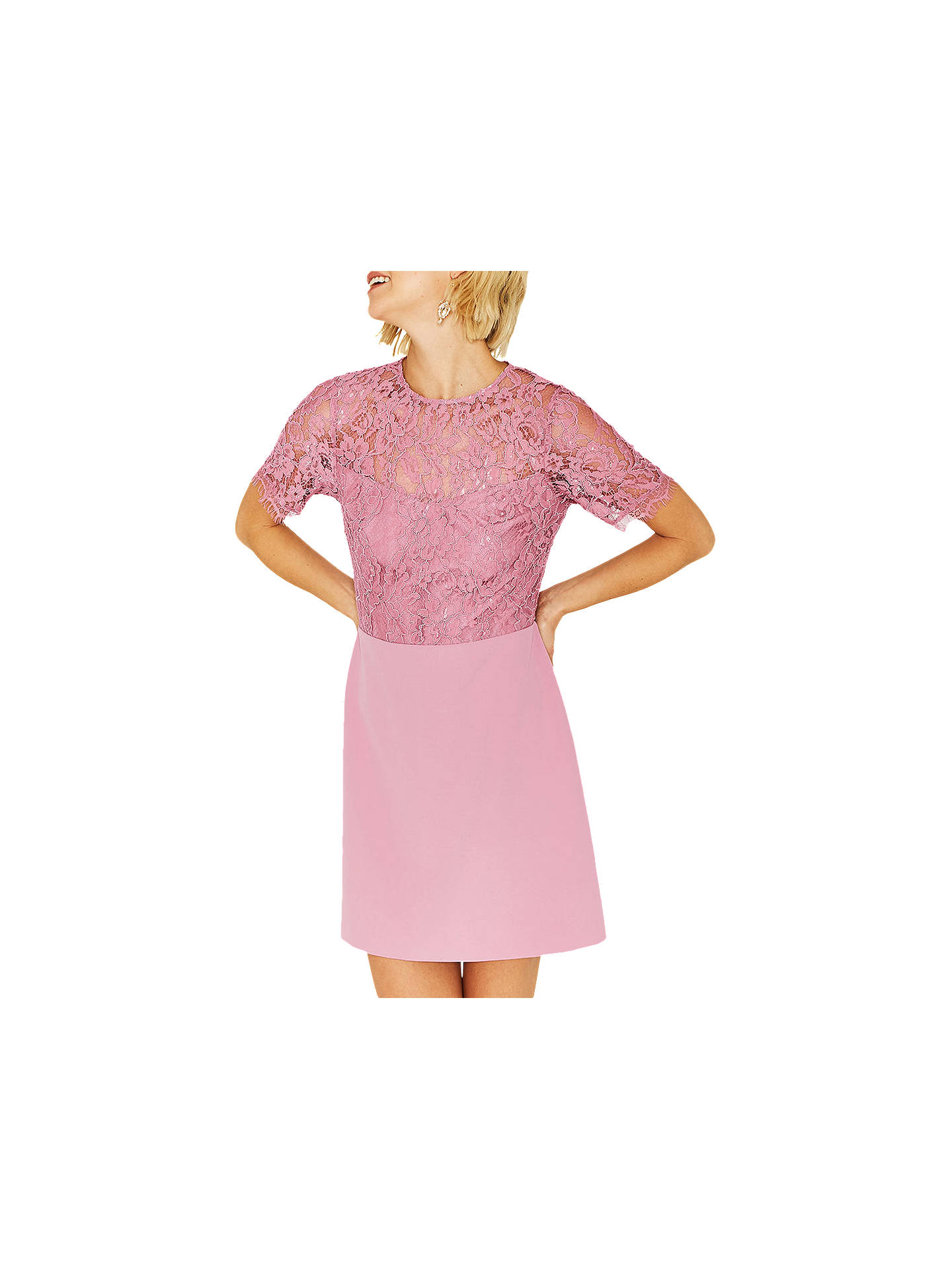 2e2ed8723cfd Buy Oasis Lace Body Shift Dress, Lilac, 6 Online at johnlewis.com ...