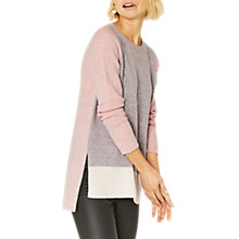 Buy Oasis Long Length Crew Neck Jumper, Multi/Pink Online at johnlewis.com
