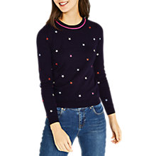Buy Oasis Embroidered Star Knit, Navy Online at johnlewis.com