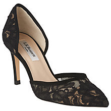 Buy L.K. Bennett Flossie Stiletto Heeled Court Shoes, Black Lace Online at johnlewis.com