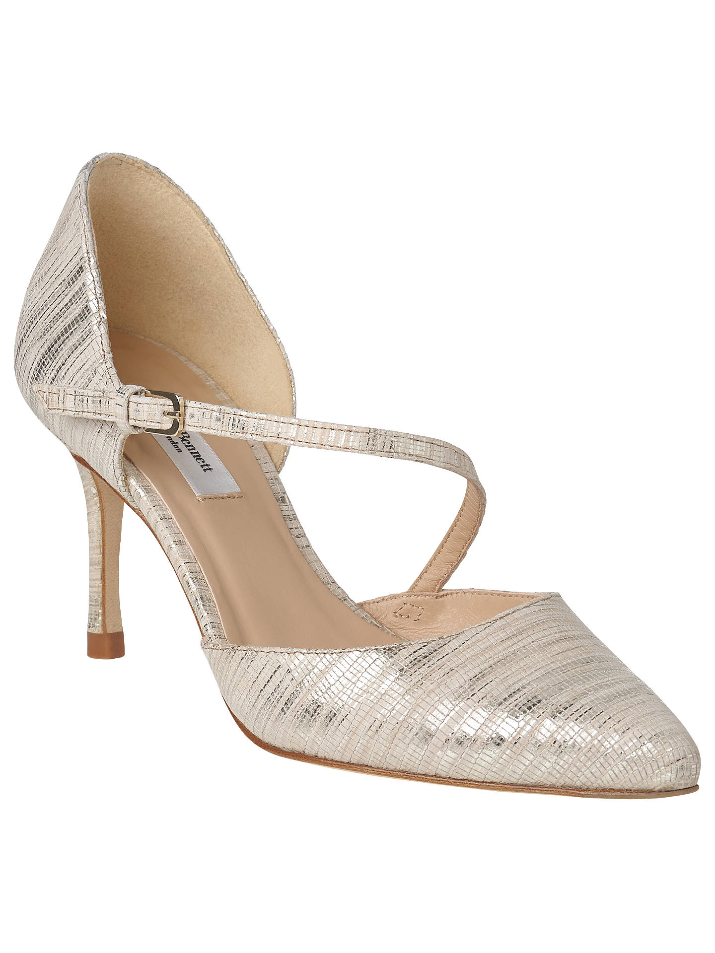 7cd80abf659 L.K. Bennett Alix Stiletto Heeled Court Shoes, Soft Gold Leather at ...
