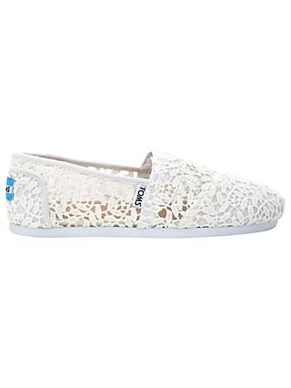 TOMS Alpargata Lace Slip On Espadrilles, White