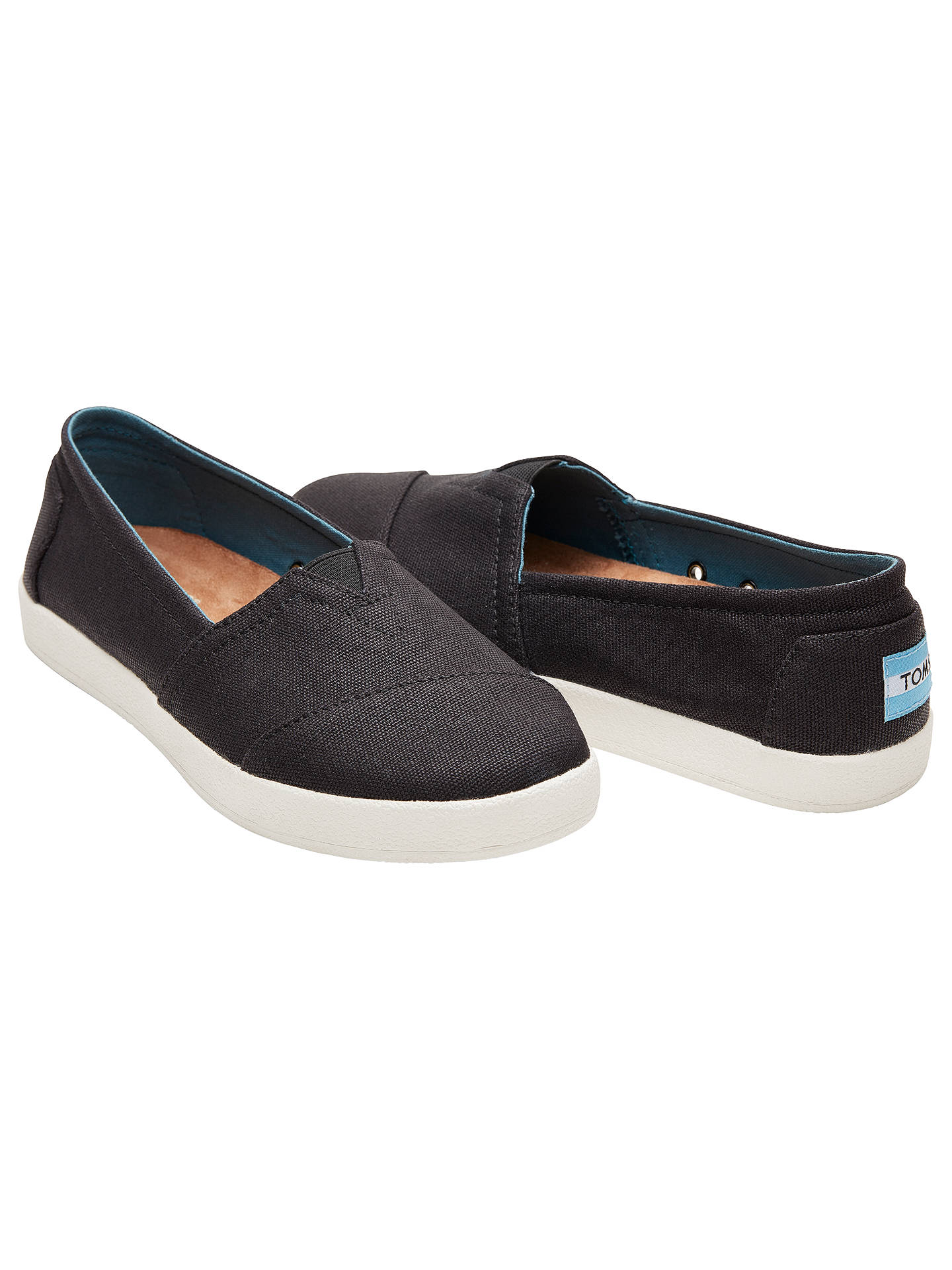BuyTOMS Avalon Slip On Plimsolls, Black, 3 Online at johnlewis.com