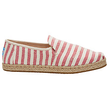 Buy TOMS Alpargata Deconstructed Stripe Plimsolls, Red Online at johnlewis.com