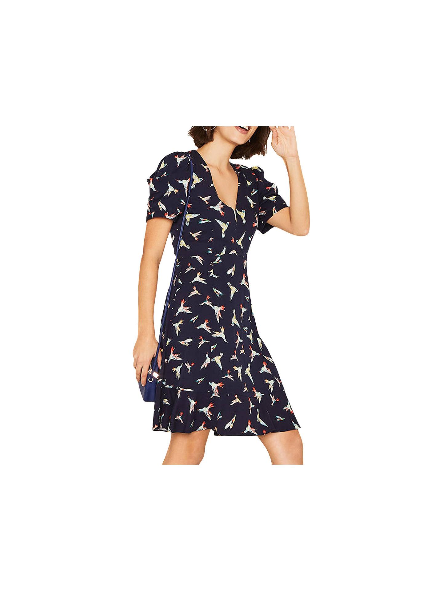 24213d974e94 Buy Oasis Bird V Neck Dress, Multi/Blue, 6 Online at johnlewis.