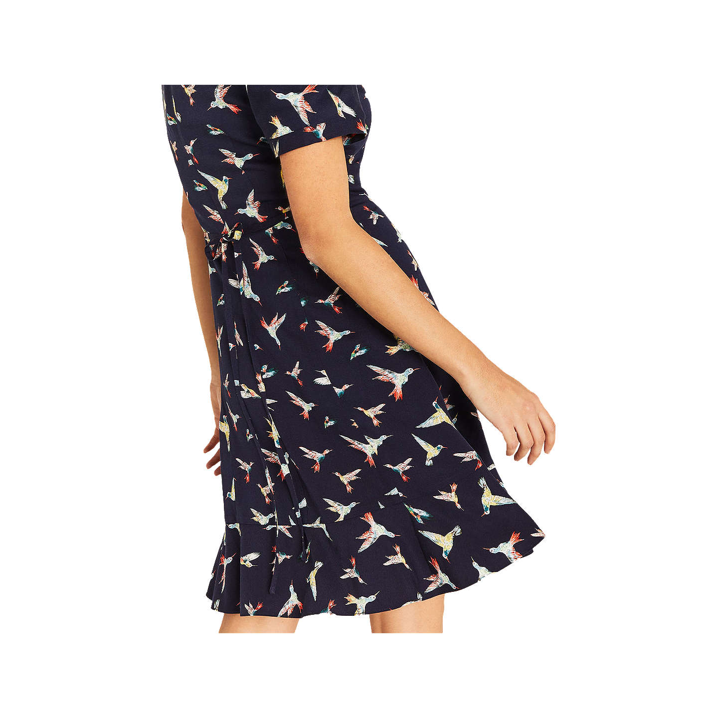 BuyOasis Bird V Neck Dress, Multi/Blue, 6 Online at johnlewis.com