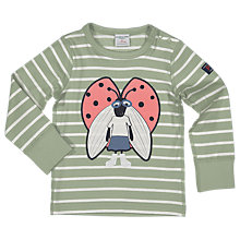 Buy Polarn O. Pyret Children's Stripe Ladybug Top, Green Online at johnlewis.com