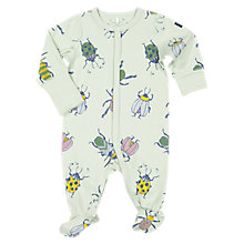 Buy Polarn O. Pyret Baby Beetle Print Sleepsuit, Green Online at johnlewis.com