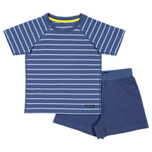 Buy Polarn O. Pyret Children's Striped Top and Shorts Pyjama Set, Blue, 12-24 months Online at johnlewis.com