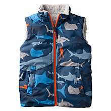Buy Mini Boden Boys' Shark Print Reversible Gilet, Blue Online at johnlewis.com