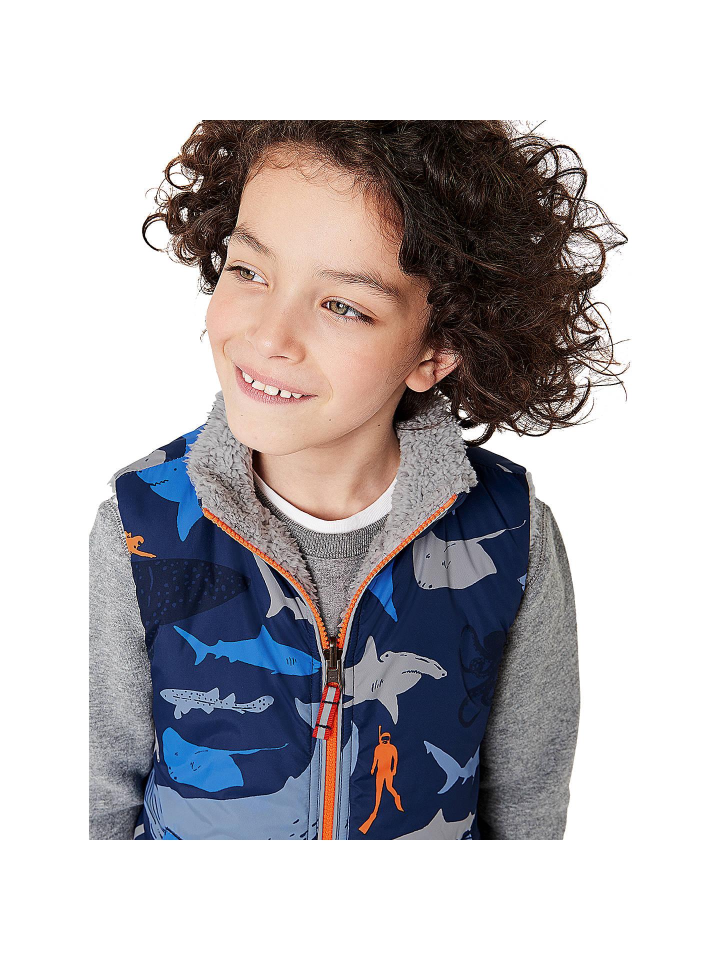 ff86d36a1 ... Buy Mini Boden Boys' Shark Print Reversible Gilet, Blue, 2-3 years ...