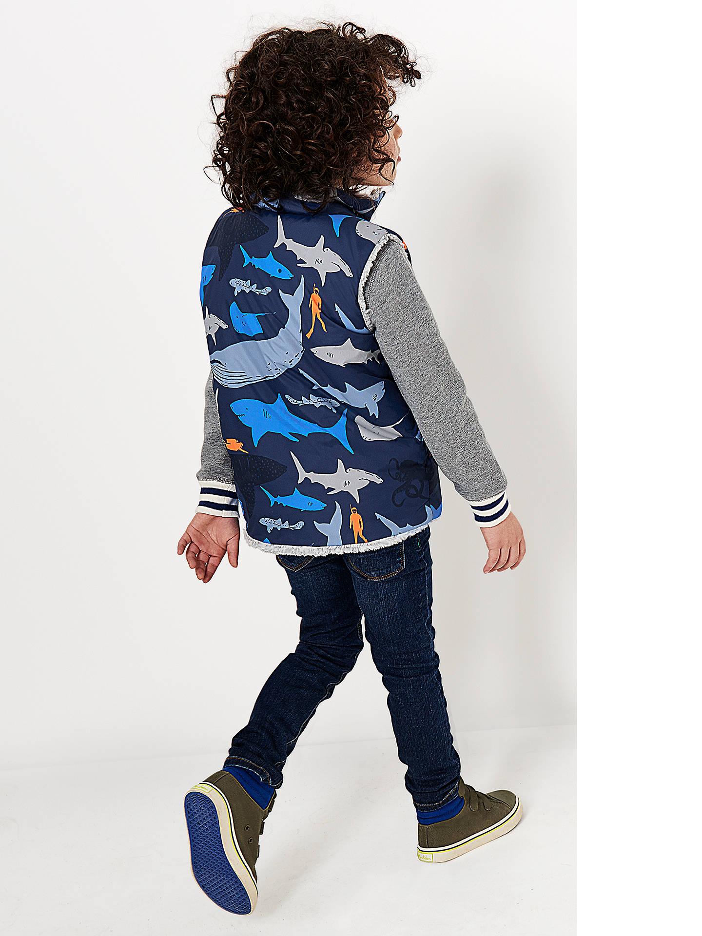 39b3bb575 ... Buy Mini Boden Boys' Shark Print Reversible Gilet, Blue, 2-3 years